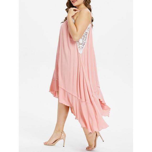 ⭐ Plus Size Crochet Trim Handkerchief Dress ⭐ Boutique